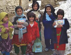 Afghan girls going to school